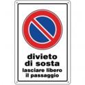 CARTELLO PLASTICA MM.300X200 DIVIETO DI SOSTA LASCIARE LIBERO IL PASSAGGIO